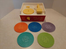 Vintage 1971 Fisher-Price #995 Music Box Record Player With 5 Records Works W5