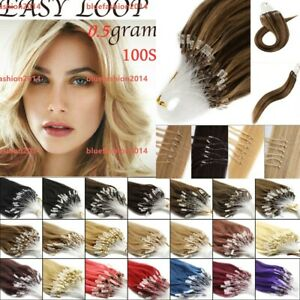 """14""""-26"""" Micro Loop Ring Beads Nano Russian Remy Human Hair Extensions 100s UK"""