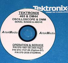 TEK 465 + DM44 + Opt-07  SERVICE MANUALS (3 Volumes +)
