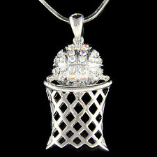 w Swarovski Crystal ~Basketball Hoop Net Sports Pendant Charm Chain Necklace New