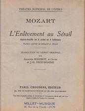 C1 MOZART Livret L ENLEVEMENT AU SERAIL Opera LIBRETTO Boschot