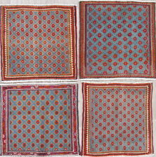 Pack of 4 Geometric Oriental Abadeh Area Rug Wool Hand-Knotted Square Carpet 2x2