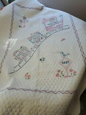 Vintage Embroidered Pink and Blue Cross Stitch Crib Quilt Kitty Cats in Train