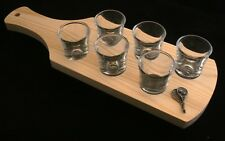 Tennis Racket Set of 6 Shot Glasses with Wooden Paddle Tray Holder 370