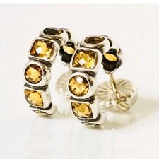 David Yurman Citrine Chiclet Hoop Earrings 925 Sterling Silver & 750 18k Gold