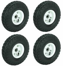 Set of 4 10 in Haul-Master Pneumatic Tire Wheel Go Cart 4.10/3.50-4 Knobby Tread