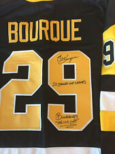 Penguins Phil Bourque Signed Jersey With Two Inscriptions W/Coa
