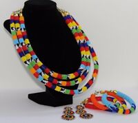 Beaded Necklace Bracelet and Earring Set Multicolored