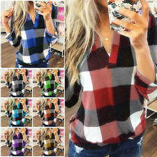 Plus Size Women Long Sleeve Plaid Blouse Pullover Casual Shirt Loose V-Neck Tops