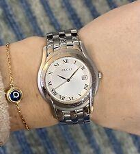 Gucci Vintage SS 5500M Men's Watch Silver Dial 36mm Case