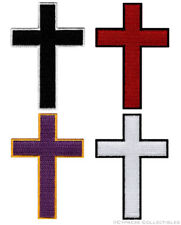 LOT of FOUR 4 CHRISTIAN CROSS iron-on PATCHES embroidered CRUCIFIX JESUS BIKER