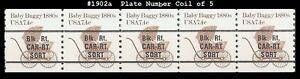 USA3 #1902a MNH PNC5 Pl #2 Top & Bottom Baby Buggy 1880s