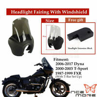 Front Headlight Fairing With Smoke Windshield Screen For Harley Dyna 2006-2017
