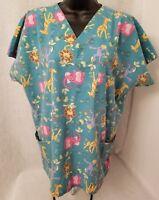 MHD Scrubs Womens Multi Color Elephant Monkey Giraffe Lion Shirt Top M 10 12