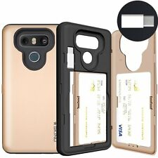 LG G6 Card Case, SKINU [USB type C] [GOLD] [Shockproof] [Dual Layer 3 Card Slot