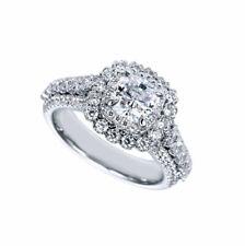 GIA Certified Diamond Engagement Ring 18k White Gold 2.26 carat total Cushion