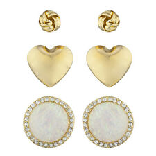 Lux Accessories Gold Tone Assorted 3PC Earring Set Knot Heart Rhinestone Opal