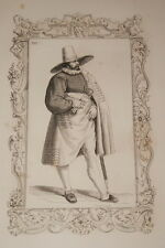 COSTUME FRANCAIS MODERNE CESARE VECELLIO 1860 GRAVURE PRINT R951