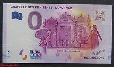 Billet touristique zero euro, Chapelle des Pénitents DONZENAC 2016, neuf