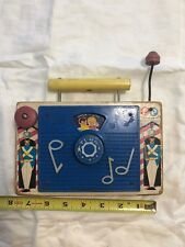 Fisher PriceVintage Tv Radio Wood Wind Up Toy Jack And Jill 148 Music Box works