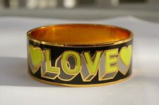 "Juicy Couture ""Love"" bangle bracelet cuff enamel metal hearts clamper graphics"