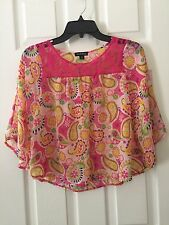 George Womens Pink Yellow Pastel Sheer Top Blouse Kimono Sleeve Size Large 10-12
