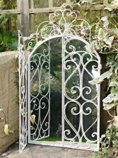 GARDEN MIRROR, DECORATIVE/ORNATE CREAM METAL SHUTTER MIRROR INDOOR OUTDOOR USE *
