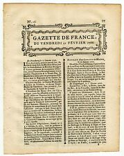 1766, Feb.21, Original French Gazette # 15 with text from Georgia