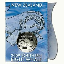 Southern Right Whale 2009 New Zealand 1 NZ$ 1 Unze Silber BU in Card - RAR!
