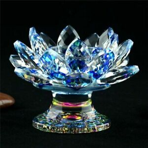 Crystal Lotus Flower Candle Holder Paperweight Figurine with Sturdy Base Decor