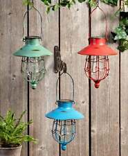 Solar Powered Rustic Distressed Look Hanging Garden Pathway Lanterns