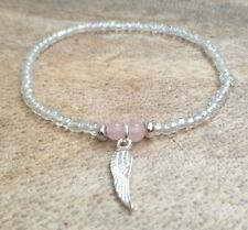 Dainty Rose Quartz Crystal Rainbow Silver Seed Bead Surfer Bracelet Angel Wing