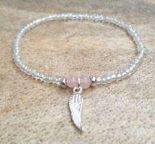 Dainty Rainbow Cristallo di quarzo rosa argento Seme Perline Surfer Bracciale Angel Wing