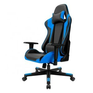 Gaming Home Chair Office Adjustable Comfortable Racing Blue Highback Gamer