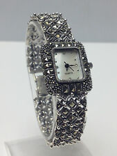 GENUINE MARCASITE 925 STERLING SILVER  WOMENS MOP DIAL FANCY BRACELET WATCH  NEW
