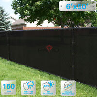 PATIO 6' x 50' Privacy Wind Screen Fence in Black Commercial Grand Mesh UV Shade