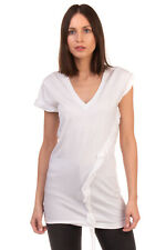 RRP €240 DSQUARED2 Longline T-Shirt Top Size S Ruffle Trim V-Neck Made in Italy