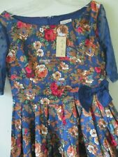 LINDY BOP DRESS BLUE ROSES RUST PINK LACE SLEEVES BOW COTTON 50s Swing Sz 10 NEW