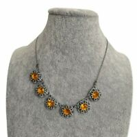 Vintage 1950s Necklace Silver Tone Amber Coloured Glass Ornate Pretty Floral