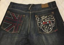 Coogi Authentic Since 1969 Denim Jeans Dark Wash Embroidered Pockets Men's 40x34