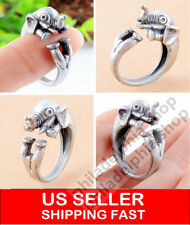 Elephant Ring, Antique Silver Ring, Animal Ring, Adjustable Ring
