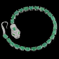 NATURAL EMERALD CHROME DIOPSIDE & CZ STERLING 925 SILVER TIGER BRACELET 7.75