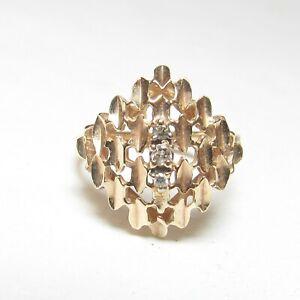 Estate 10K Yellow Gold Three Round Brilliant Cut Diamond Statement Ring 0.05 Cts