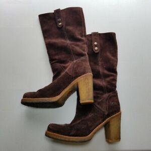 Ugg Boots Womens 8 Josie Brown Suede Gum Heel Convertible Height