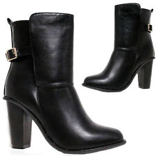 LADIES FASHION PULL ON FAUX LEATHER HEEL BUCKLE BOOTS BLACK SIZE UK 3-8
