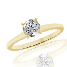 Round Simulated Diamond Solitaire Engagement Wedding Ring 18K Yellow Gold