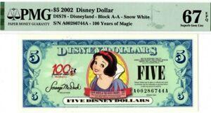 Scarce 2002 $5 Snow White Disney Dollars PMG 67 Superb Gem Uncirculated EPQ