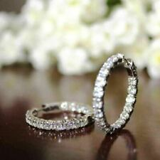 2.00 CT Round Cut Diamond 14K Solid White Gold Wedding Hoop Earrings For Womens