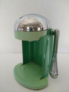Vintage RIVAL Juice-O-Mat Manual Citrus Press Juicer Art Deco Jade Green