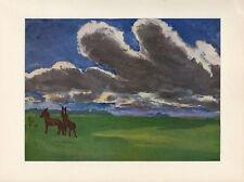 "1959 Vintage EMIL NOLDE ""LANDSCAPE with YOUNG HORSES"" COLOR Offset Lithograph"